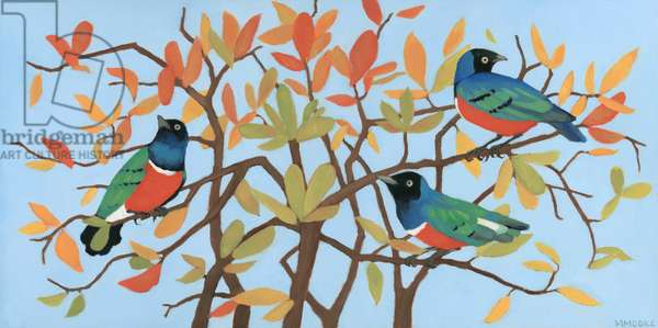 Suberb Starlings of East Africa, 2015 (oil on wood panel)