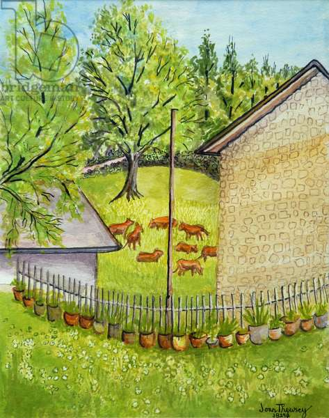 View from Ruth's Garden, Limousin France, water colour