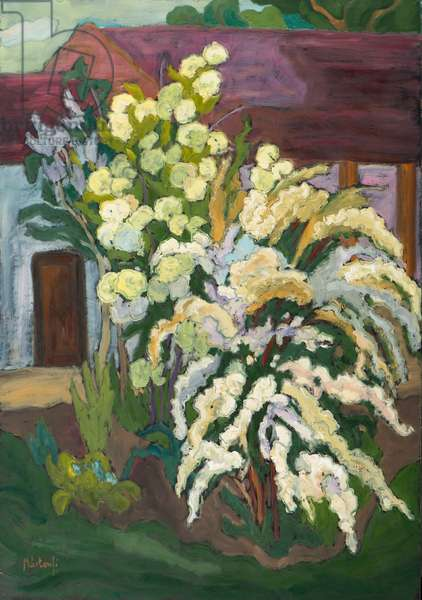 Shrubbery in Bloom (2011) oil on board