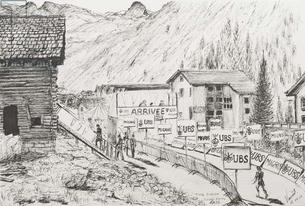 Sierre to Zinal Mountain Race, The Finish, 2009, (ink on Paper)