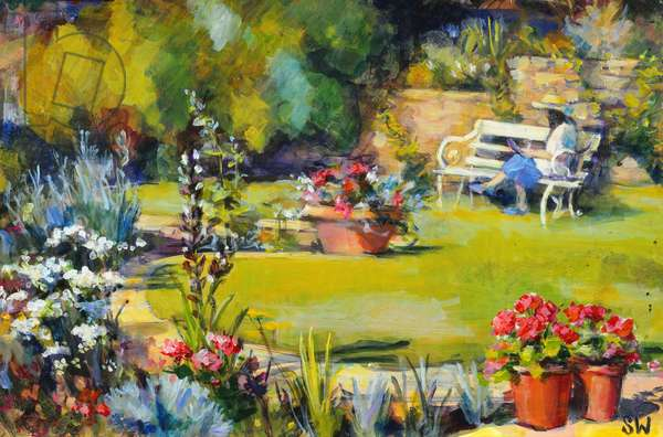 Reading in the garden, 1995, (gouache on paper)