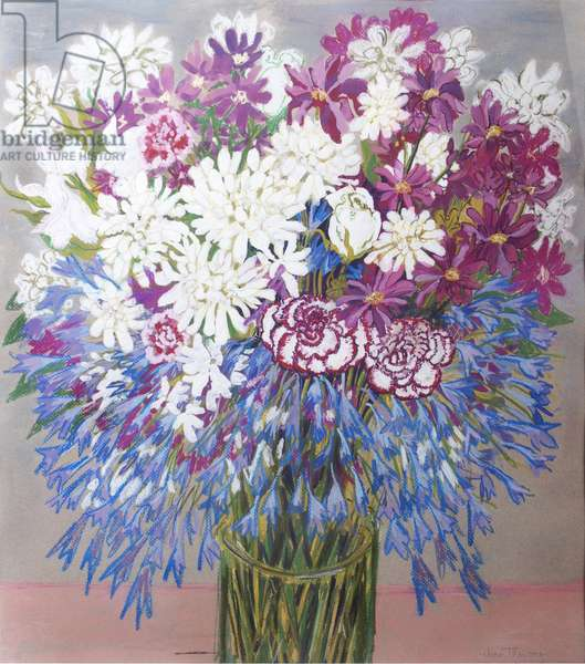 Agapantha,Chrysanthemums and Carnations,2012,Gouache