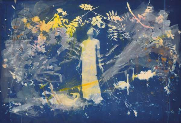 """I have fallen a long way. Clouds are flowering"", 2014, (cyanotype with acrylic paint on paper)"