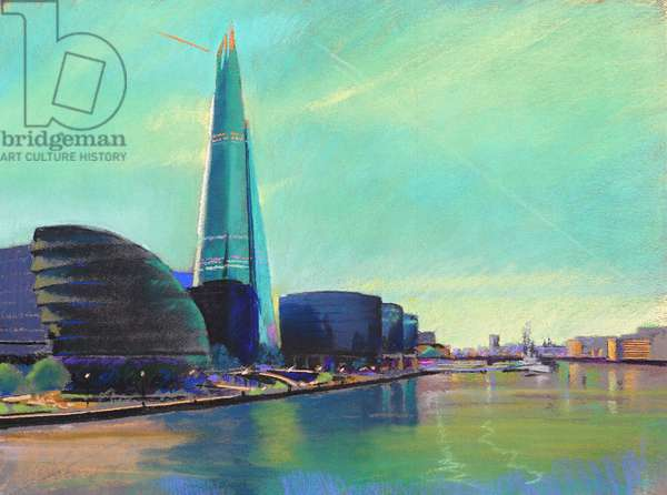 The Shard from Tower Bridge, 2015, pastel