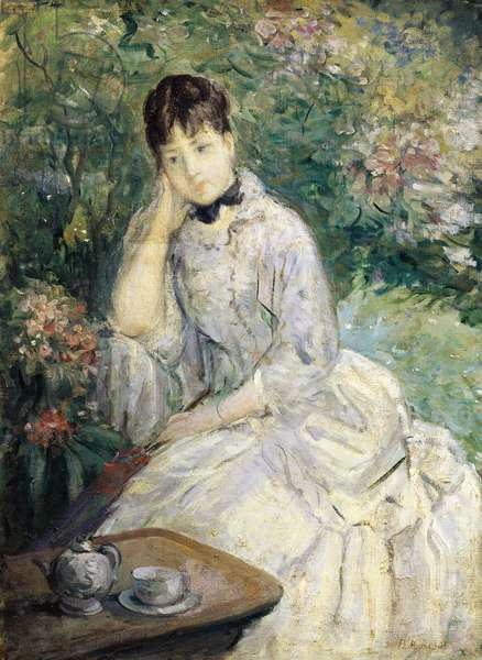 Young Woman Seated on a Sofa, by Berthe Morisot, oil on canvas, 1841-1895, 74x545 cm