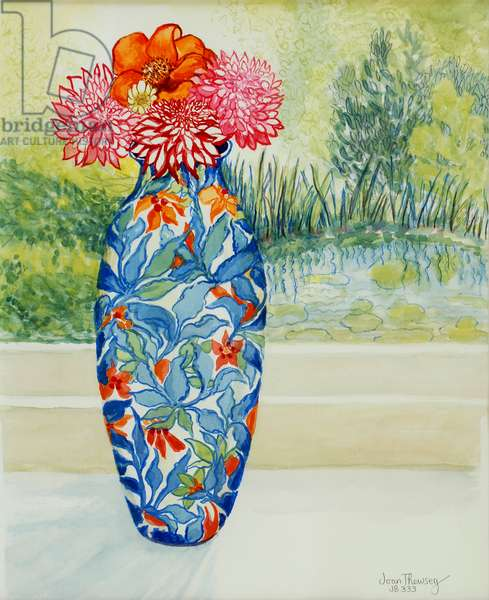 Vase with Dahlias and View of the Pond, 2001,(watercolour)