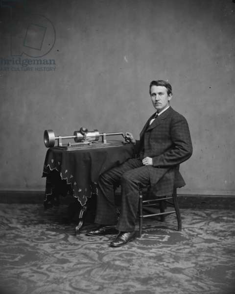 Thomas Edison, c.1877-8 (b/w photo)