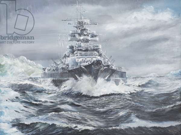 Bismarck off Greenland coast  23rd May 1941, 2007, (oil on canvas)