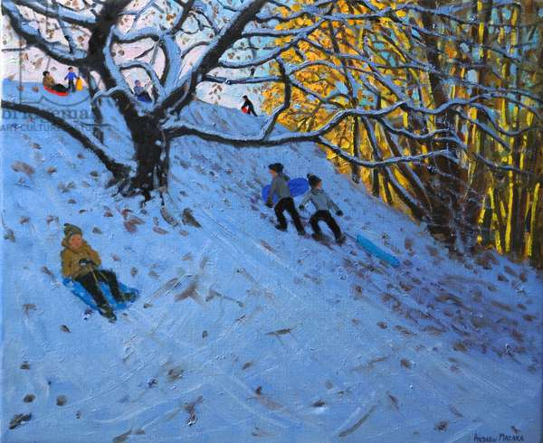Sledging Allestree Golf course (3rd hole) 2014 (oil on canvas)