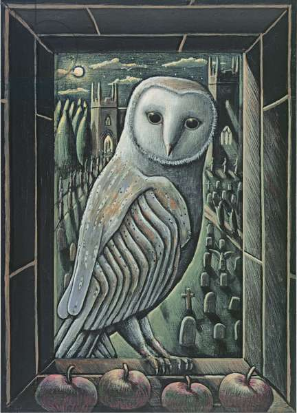 OWL BY MOONLIGHT, 2013, (tinted gesso on wood)