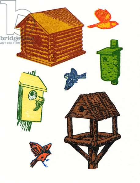 Bird Houses-small, 2013, (screen print)