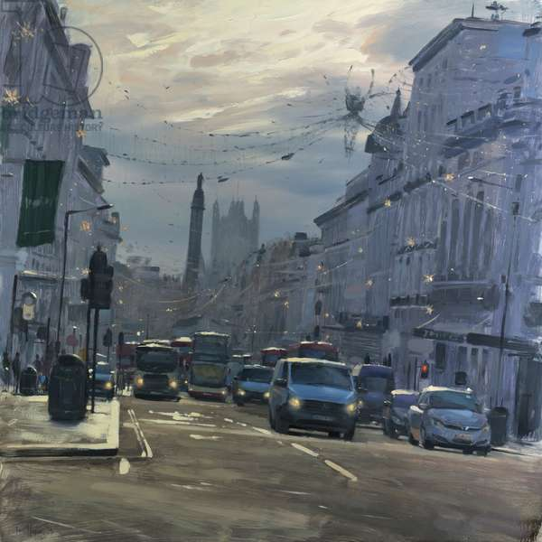 Regent Street St James's with Xmas lights, December, 2018, oil on canvas