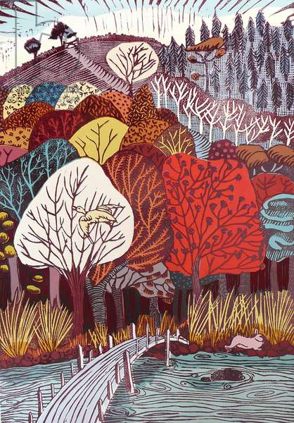 Through an Enchanted Forest, 2007 (gouache/linocut)