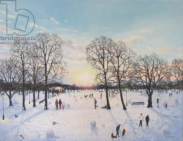 Sunset on Common in Snow,2013, ( oil on canvas)