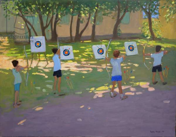 Archery practise,France (oil on canvas)