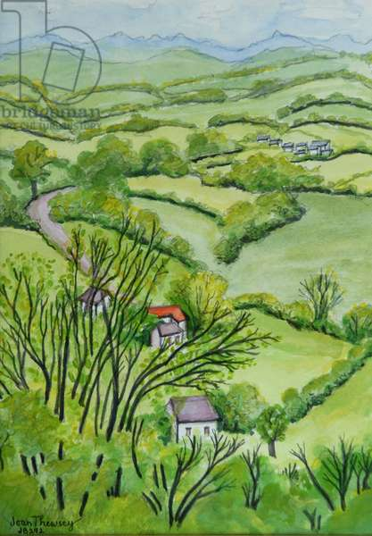 View from Mount Gargan, Limousin,France 2010 pencil with water colour