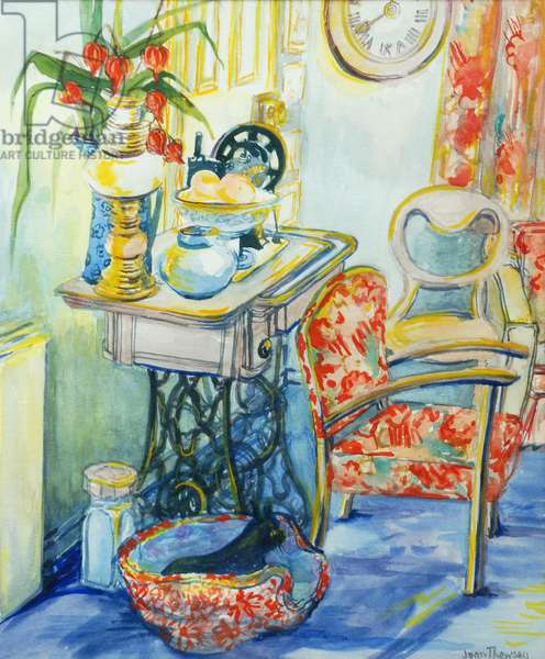 Cottage Interior, with Cat, 2000, water colour on homemade paper