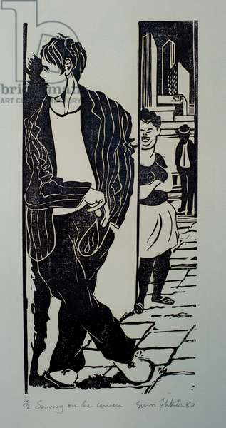 Swivney on the corner(linocut)