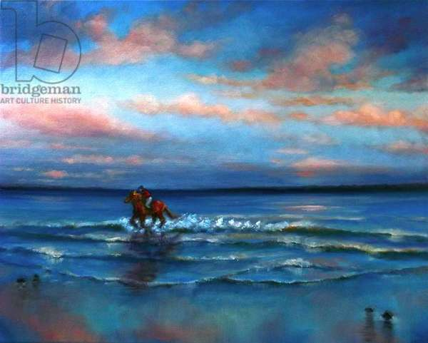Wave Racing 2013 (oil on canvas) Horse riding on beach