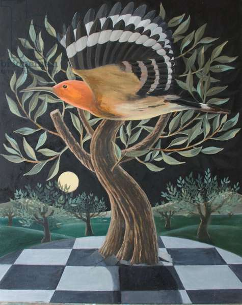 HOOPOE AND OLIVE TREE