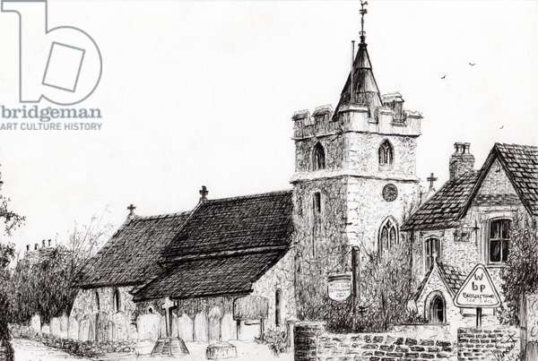 Brighstone Church I.O.W., 2008, (ink on paper)