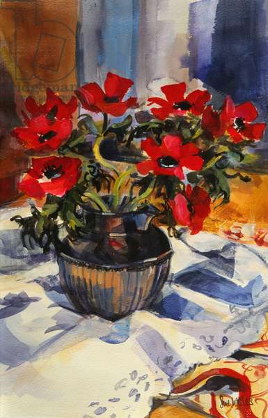 Red anemones, 1994, (gouache on paper)