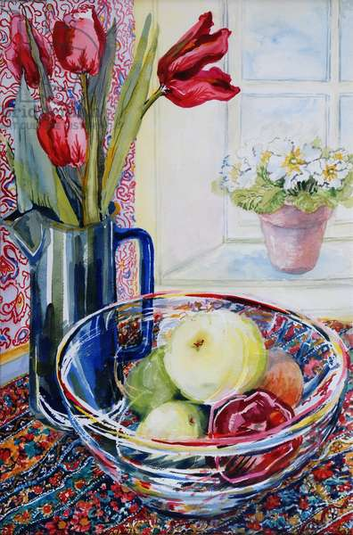 Tulips in a Jug,with a Glass Bowl 2003 (w/c on paper)