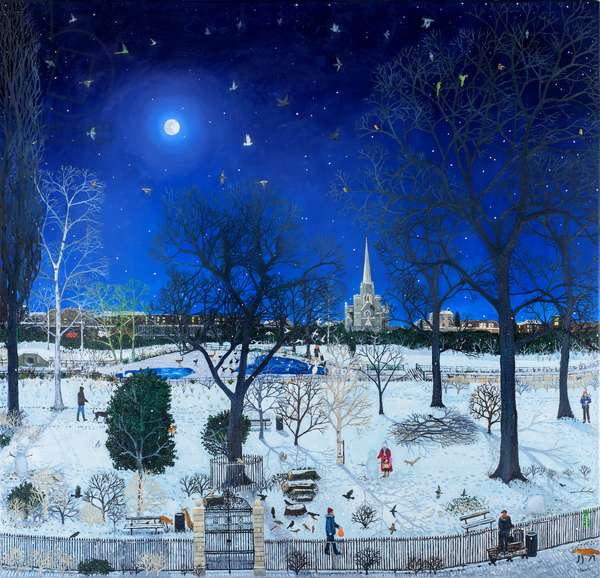 Moonlight park snow  (oil on canvas)