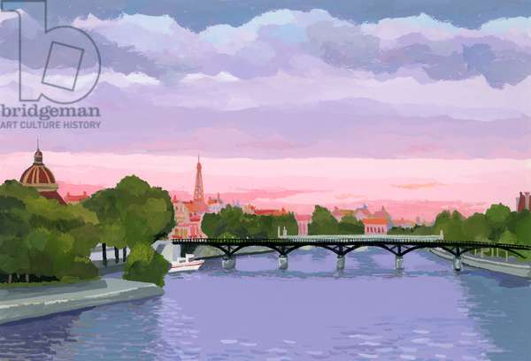 Sunset in Paris, the Seine river