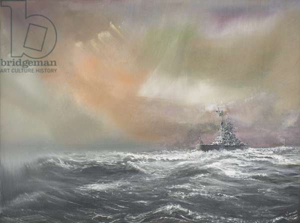 Bismarck signals Prinz Eugen 0959hrs 24/051941, 2007, (oil on canvas)