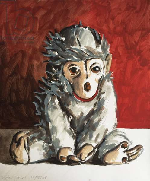White Monkey on Red, 2006, (oil on paper)
