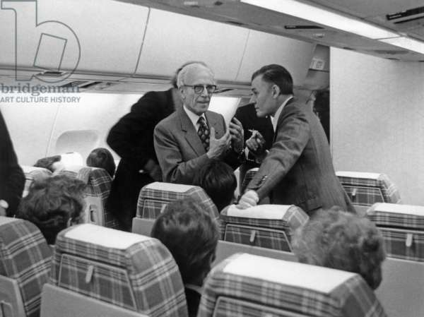 Henri Ziegler, President of Airbus Industrie, on Board of Airbus A 300 B Plane (Air France) For 1St Flight on May 13, 1974 (b/w photo)