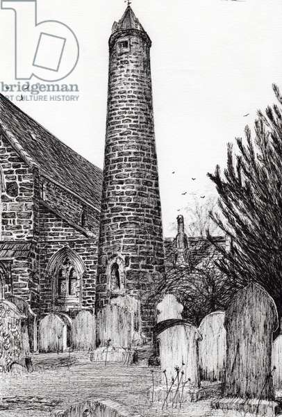 Brechin Round Tower Scotland, 2007, (ink on paper)