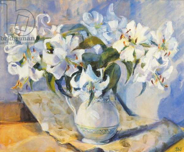 Lilies in white jug, 2000, (oil on canvas)