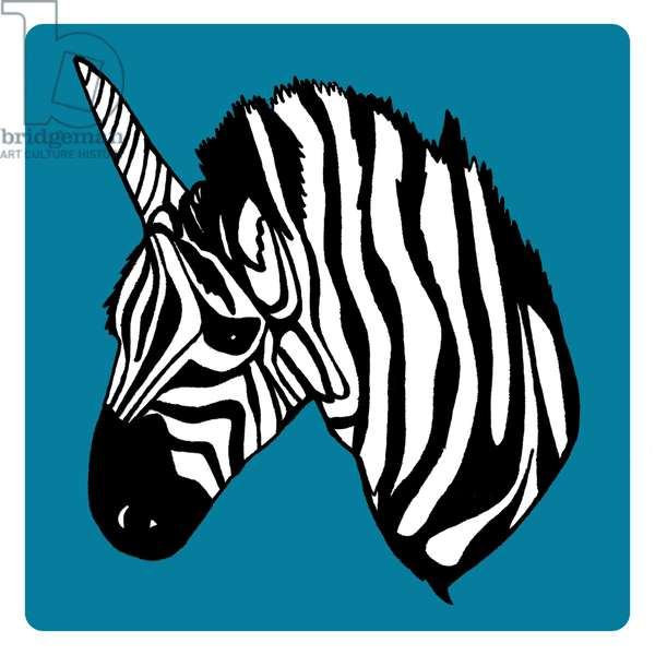 Zebra Unicorn, pen and ink, digitally coloured