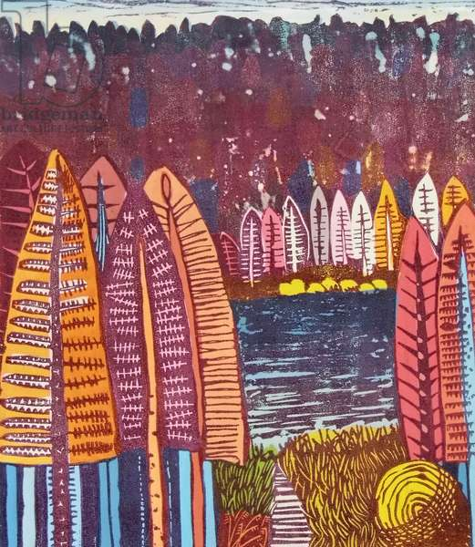 The Lake, 2009 (gouache/linocut)