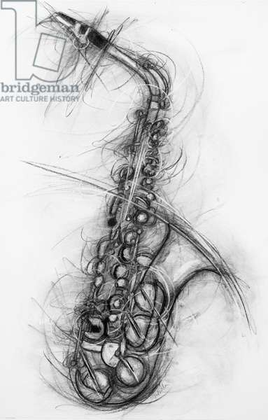 Saxophone 2005 (charcoal on paper)