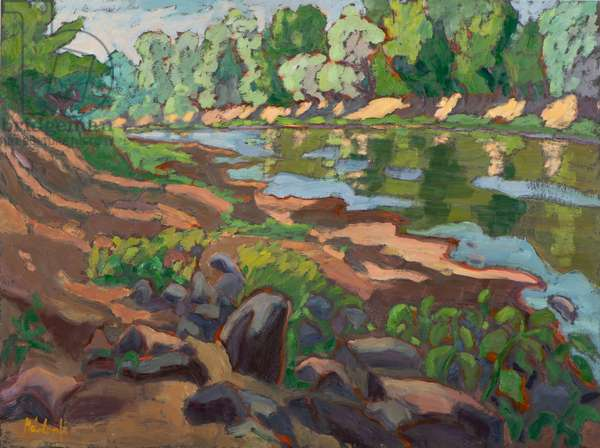 On the Shady Side of River Koros (2012) oil on board