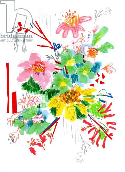 Floral Sketch 2, 2014 (pen and ink, collage on paper)
