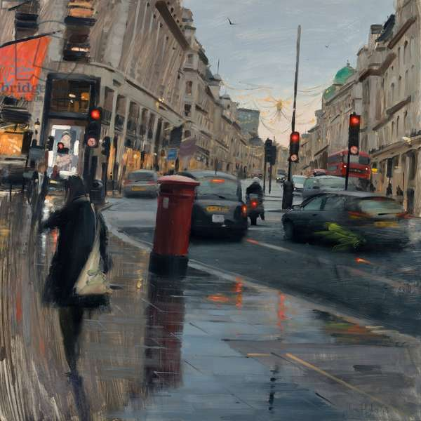 Regent Street in rain with taxi, 2018, oil on canvas