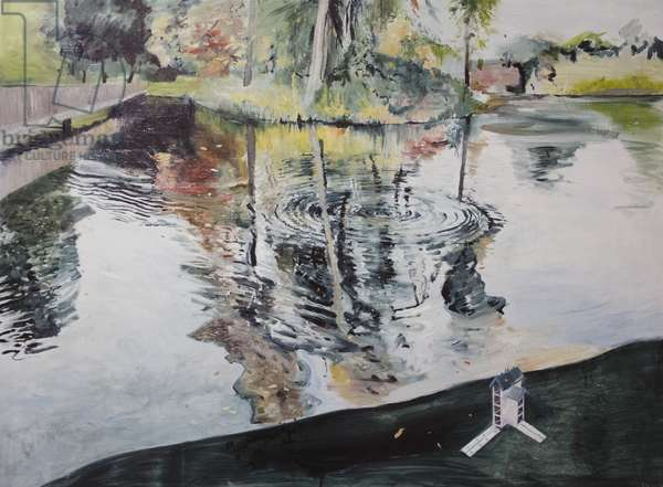 Ripples and Birdhouse, Kew Gardens, 2014, (oil on board)