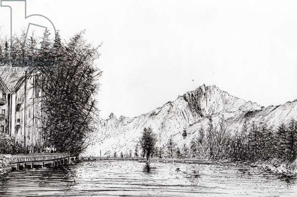 Crans Switzerland, 2009, (ink on paper)