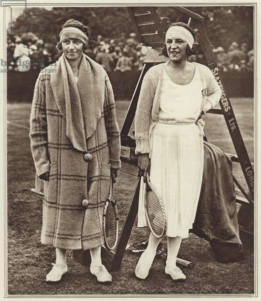 Kitty Godfree and Suzanne Lenglen (b/w photo)