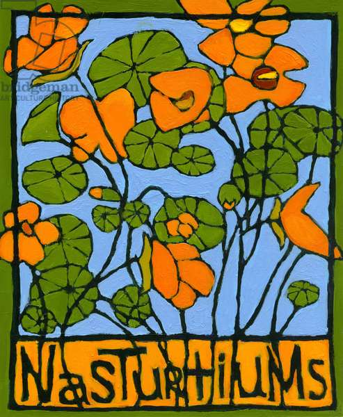 Nasturtiums, 2004, (oil on illustration board)