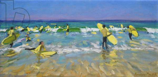 Surf School at St. Ives (oil on canvas)