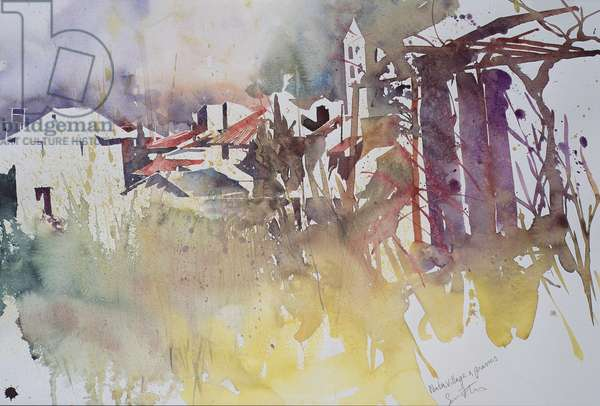Winter village and grasses, France (watercolour)