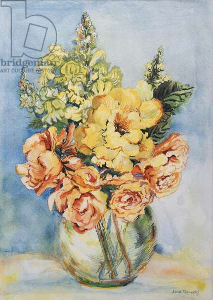 Yellow Roses and Antirrhinums, 2001, (w/c on handmade paper)
