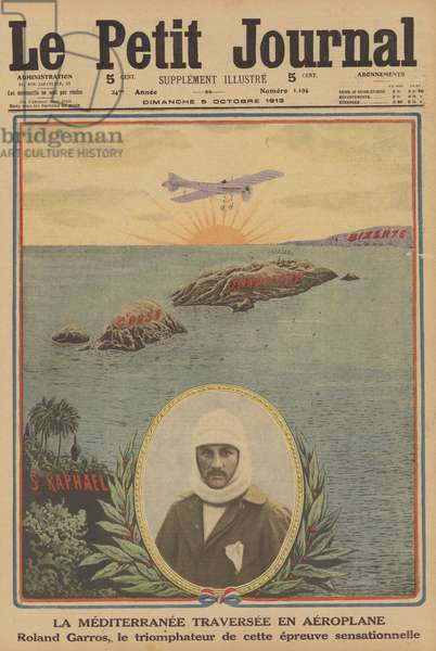 The first crossing of the Mediterranean by aeroplane (colour litho)