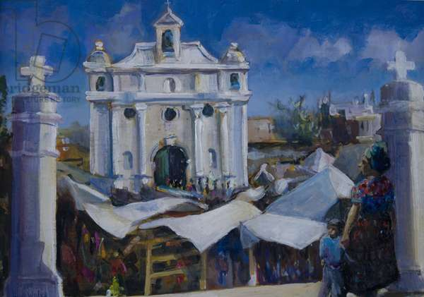 Market day Guatemala, 2011, (oil on board)