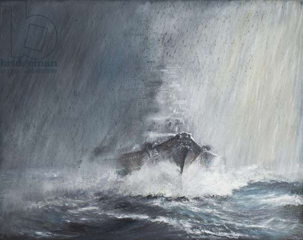 Bismarck 'through curtains of Rain Sleet & Snow' 22/05/1941. 2007,(oil on canvas)